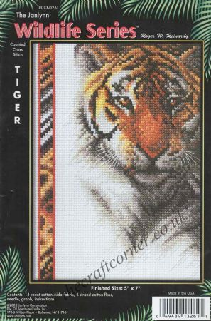 Tiger Counted Cross Stitch Kit From The Janlynn Wildlife Series